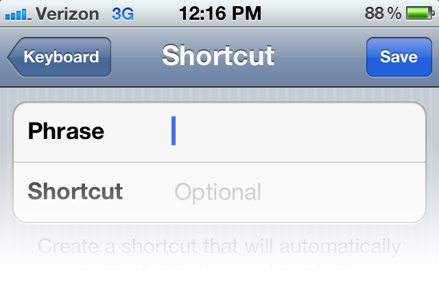 iOS Shortcut Form