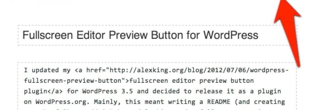 Fullscreen Editor Preview Button Screenshot