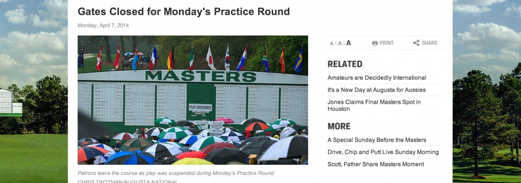 Masters Practice Round Canceled