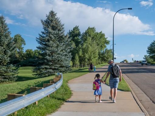 Walking Caitlin to Kindergarten